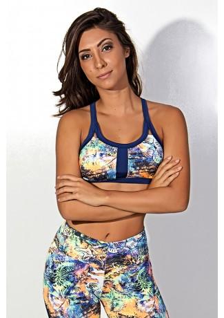 Top Estampado com Detalhe Liso sem Cós (Fundo do Mar 4 / Azul Marinho) | Ref: KS-F1687-001