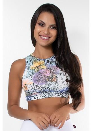 Cropped Anamara Estampado (Floral com Oncinha) | Ref: KS-F622-010