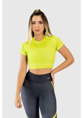 Cropped Fitness Justo de Manga Curta Estampa Digital Yellow Strings | Ref: GO268-A