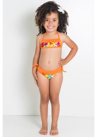 Biquini Estampado com Babado Infantil (Amarelo com Bichos / Laranja) | Ref: DVBQ26-006