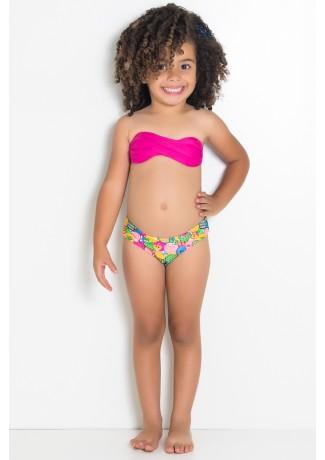 Biquini Infantil Tomara Que Caia com Bojo | Calcinha Estampada (Rosa Pink / Frutas Verdes Amarelas e Salmão) | Ref: DVBQ28-002