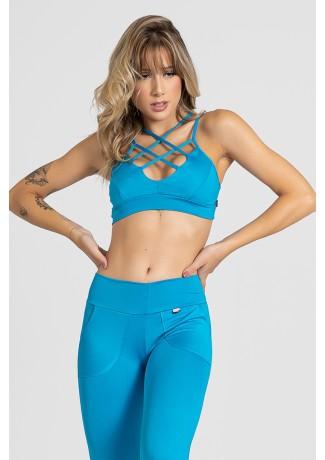 Top Nadador Embutido com Tiras no Peito (Azul Celeste) | Ref: KS-F1025-001