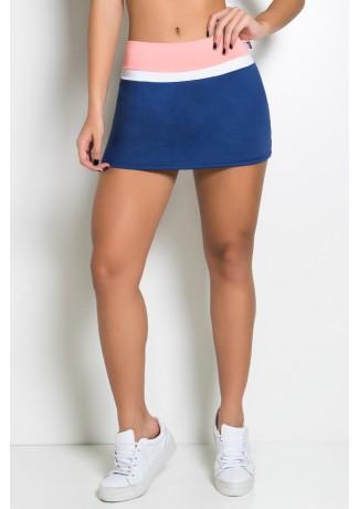 Short Saia Três Cores (Azul Marinho / Coral Tandy / Branco) | Ref: KS-F1601-001