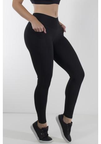 Calça Paula Lisa com Detalhe Dry Fit e Bolso (Preto) | Ref: KS-F584-001