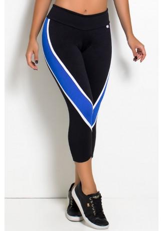 Calça Corsário Candice S. com Listras (Preto + Branco + Azul Royal) | Ref: F587-001