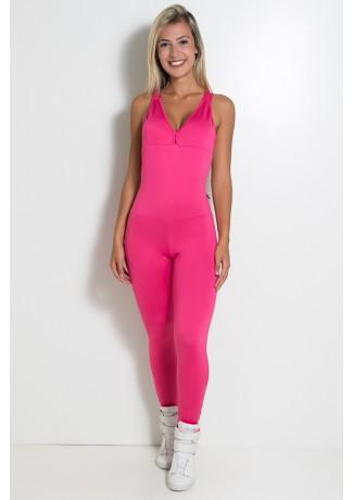 Macacão Fitness Bela Cores Lisas (Rosa Pink)   Ref: KS-F87-004