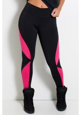 Calça Naomi Duas Cores (Preto / Rosa Pink) | Ref: KS-F910-002