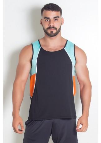 Camiseta de Microlight Masculina 3 Cores com Vivo (Preto - Verde Água - Laranja com Vivo Branco) | Ref: KS-H04-001