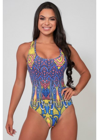 Body Nadador Estampado (Indiano Rosa Azul e Amarelo) | Ref: K2590-I
