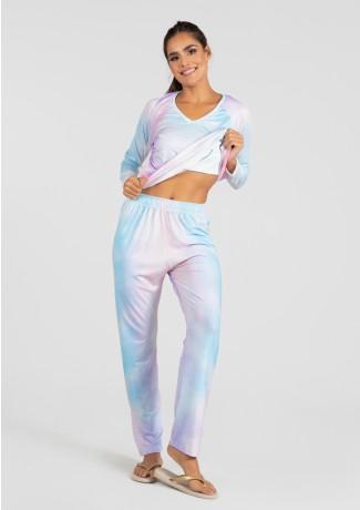 Pijama de Manga Longa Raglan Estampa Digital (Tie Dye 2)   Ref: K2777
