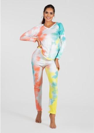 Pijama de Manga Longa Raglan Estampa Digital (Tie Dye 3)   Ref: K2778