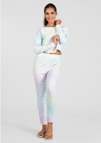 Pijama Cropped de Manga Longa e Calça Estampa Digital (Tie Dye)   Ref: K2815