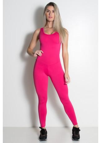 Macacão Fitness Carol Cores Lisas (Rosa Pink) | Ref: KS-F28-001