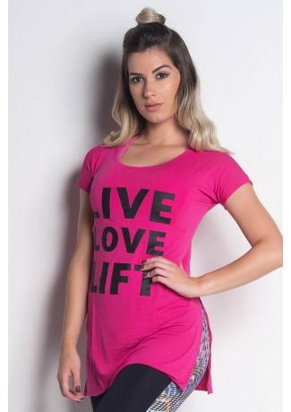 Blusa Viscolycra com Abertura Lateral e Silk (Live Love Lift)   (Rosa Pink)   Ref: KS-PL18-001