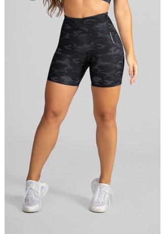 Short Fitness Meia Perna Estampa Digital Camouflaged Black | Ref: GO234-A