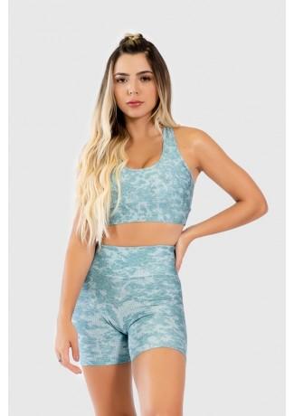 Short Fitness Meia Perna Estampa Digital Lace Texture | Ref: GO286