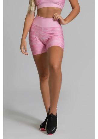 Short Fitness Meia Perna Estampa Digital Pink Camo | Ref: GO351