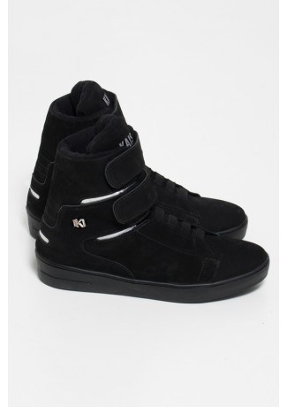 Sneaker Cano Alto Nobuck com Velcro (Preto / Prata) | Sola Preta | Ref: KS-T46-004