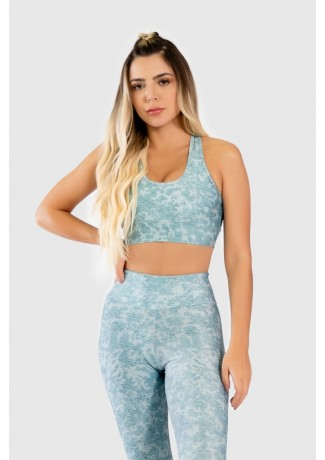 Top Nadador Fitness com Viés Estampa Digital Lace Texture | Ref: GO285