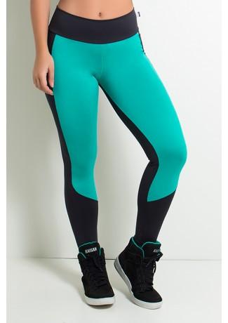 Calça Legging Duas Cores  (Preto / Verde Esmeralda) | Ref: KS-F34-001