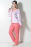 Pijama feminino longo 182 (Goiaba Flores)   Ref: CEZ-PA182-013